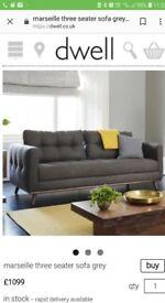 Dwell 3str sofa in light brown/ grey still new ,unwanted