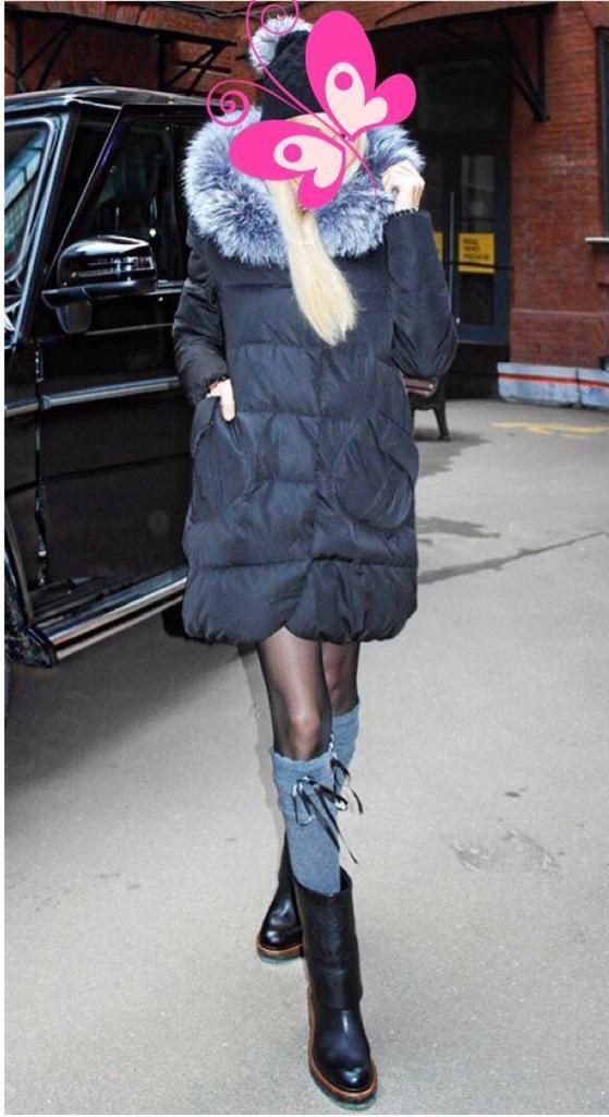 fee9ae46872 feather down coat parka with a real silver fox fur M 8-12 YSL LV Zara DIOR