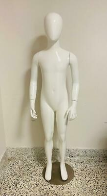 White Gloss Fiberglass Unisex Kid Full Body Manikin Excellent Condition.