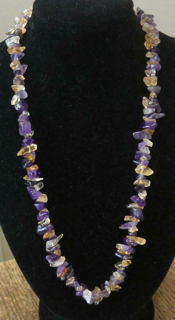 "Amethyst and Citrine Necklace 16"" to 34"", Long Necklace, Short Necklace"