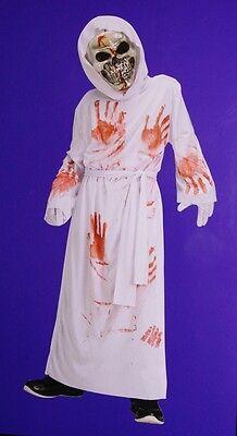 Boys Bleeding Grim Reaper Halloween Costume White Robe Bloody Mask M 10 L 14 NEW
