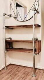 Industrial look scaffold shelving unit.