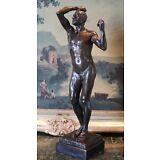 Classic Rodin Age of Bronze Elegant Male Nude Figure Marble Statue Sculpture