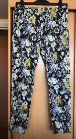 Size 14 blue floral trousers