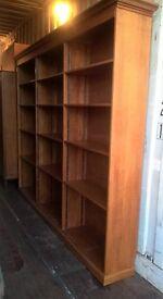 Large Oak Veneer 3 Section Bookcase