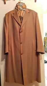 100% CASHMERE FEDORA ITALY MENS LONG WINTER COAT CAMEL BROWN Free Scarf
