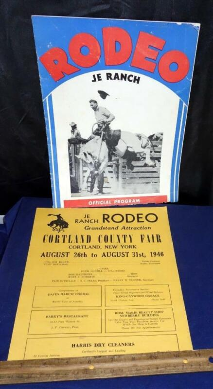 1946 JE Ranch Rodeo Official Program Cortland County Fair & List Of Events NY !