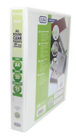 Elba Panorama Presentation Binder PVC 3 Cover Pockets 2 D-Ring 25mm A4 White PACK OF 10