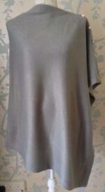 Women's Clothing Grey Poncho with Diamante Flower Buttons BNWT