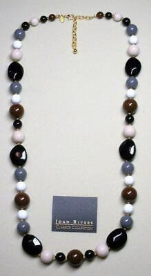 """JOAN RIVERS GOLD EP BLACK & BROWN MULTI COLOR PLASTIC BEAD NECKLACE 34"""" LONG NEW"""