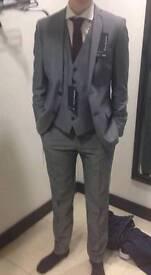 34-38 Debenhams 3 piece Red Herring slim suit grey