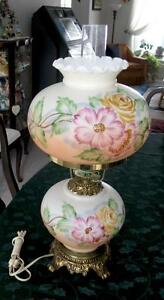 Banquet Lamp Milk Glass with Floral Shade and Base