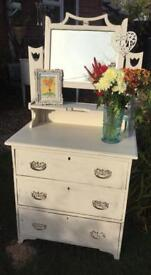 Vintage shabby chic dresser chest of drawers