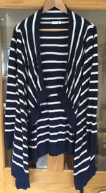 Jojo Maman Bebe size small Breton striped 4-in-1 blue and white maternity cardigan £12