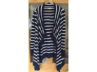 Jojo Maman Bebe size small Breton striped 4-in-1 blue and white maternity cardigan £12