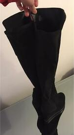 Black over knee wedge boots from Dune. Size 4.