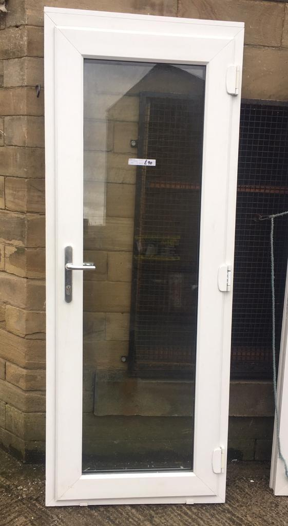 White Upvc And Full Glass Pane Door With Key In Bradford West