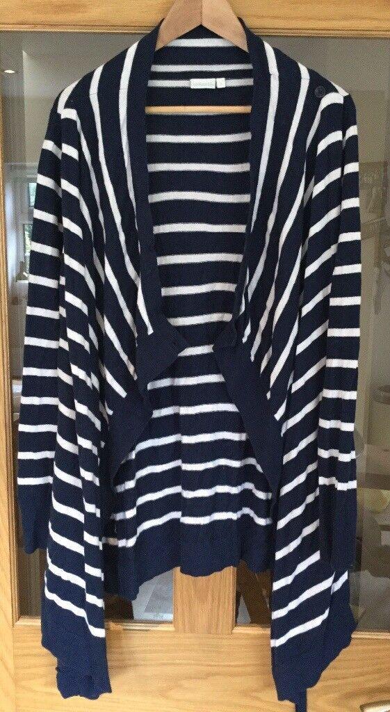 Jojo Maman Bebe size small Breton striped 4-in-1 blue and white maternity cardigan