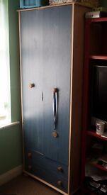 Wardrobe Blue/Pine 2 Drawer