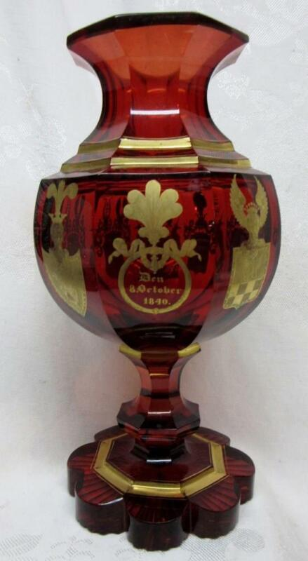 """MOSER, Bohemian 10"""" RUBY Flash GOLD COAT of ARMS COMMEMORATIVE VASE ,OCT 8, 1840"""