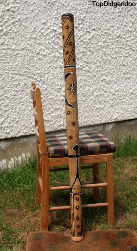 "47""120cm DIDGERIDOO Native Burns & Dot-Paint Handwork +Bag +Beeswax Mouthpiece"