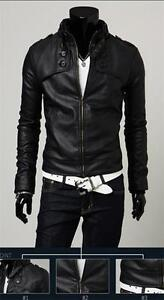 Men's Fashion Designed PU Leather Short Slim Fit Top Sexy Jacket Coat Outerwear