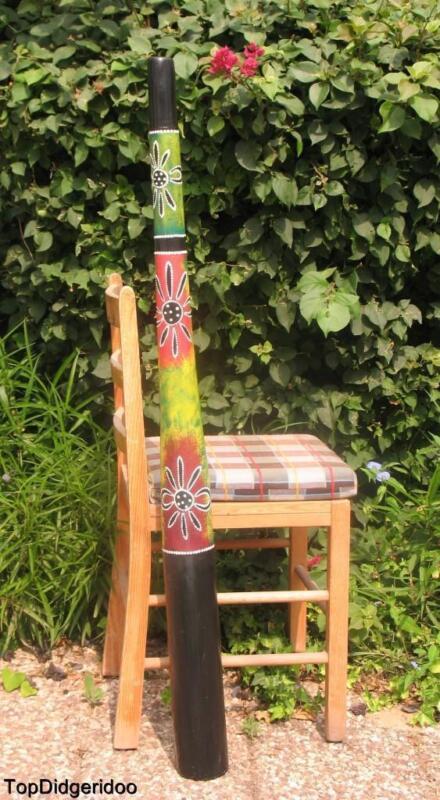 "47""120cm DIDGERIDOO+Bag+Beeswax Mouthpiece Teak Wood Artwork Handpaint Blossom"