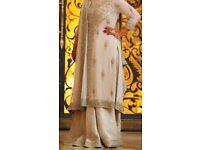 Asian, Pakistani, Indian, Bangladeshi cream white and pistachio bridal dress