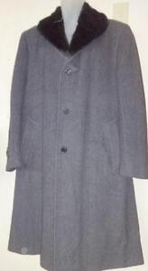CANALI Made in Italy 44R LARGE MENS $1500 LONG ANGORA Cashmere COAT / Remov Faux Fur Collar / Scarf / HARRY ROSEN / MINT