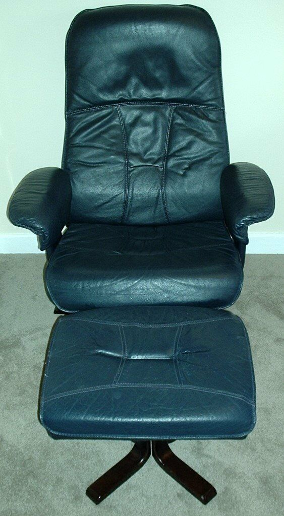 Navy Blue Leather Swivel Recliner Chair Amp Matching