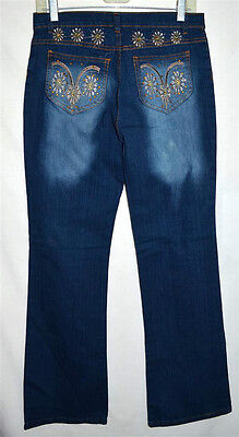 be31def7cf8142 D Andrey Jeans Original w/ Embroidered Flowers & Rhinestones Jeans Sz 30 W  32