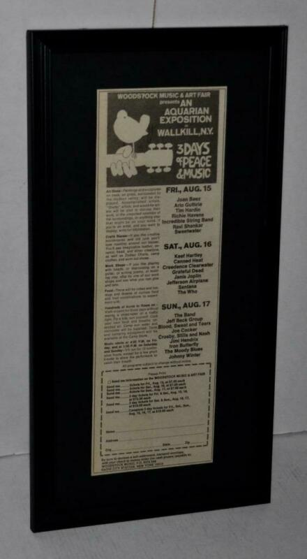 WOODSTOCK 1969 ORIGINAL CONCERT FRAMED AD JIMI HENDRIX THE WHO JANIS JOPLIN