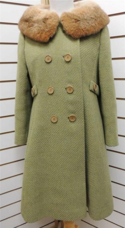 Vintage Green Tweed Long Double Breasted Trench Peacoat w Fox Fur Collar S M 4 6