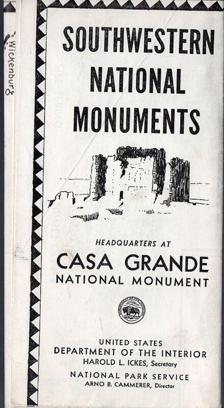 Vintage 1940 Travel Brochure/Map - Southwestern National Monuments