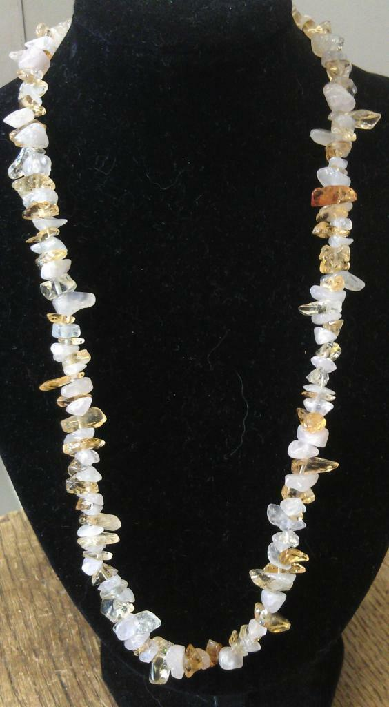 "Rose Quartz and Citrine Chip Necklace 16"" to 34"", Long Necklace, Short Necklace"