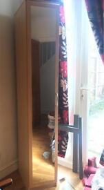 Mirrored Single Wardrobe With One Shelf