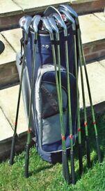 Ladies Slazenger Firesteel St. St Golf 8 Irons 4,5,6,7,8,9,P.W & S.W+Slazenger Bag+Trolley.