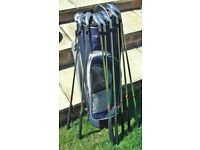 Ladies Slazenger Firesteel St. St Golf 8 Irons 4,5,6,7,8,9,P.W & S.W+Slazenger Bag+Trolley.