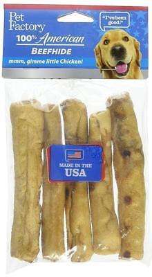 Pet Factory American Beefhide Chicken Rolls, 5-Inch, 5 Rolls Per (Beefhide Rolls)