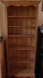 2 SOLID PINE BOOKSHELVES. SHELVING UNITS IN GOOD CONDITION. NATURAL PINE. SOLD SEPARATELY. £50 EACH.