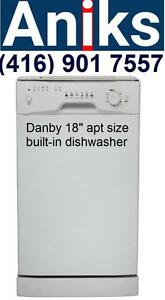 "Danby DDW1801MW 18"" built-in apartment size dishwasher 8 Place Setting Dishwasher"