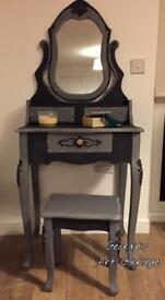Elegant French look fully refurbished dressing table set in chalk graphite and grey finish