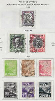 9 Chile Air Post Stamps from Quality Old Antique Album 1930-1931