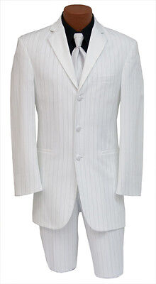 White Zoot Like Tuxedo Jacket Theater Costume Discount Mardi Gras Coat Dress Up