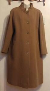Womens XL St. Michael Camel Brown Long Swing Coat Marks & Spencer 100% WOOL Winter Warm Wide Hip Cozy Mint Made in UK