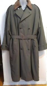 XL PIERRE CARDIN MENS ALL-WEATHER COAT 48 Oversized Large Khaki Green REAL LEATHER COLLAR ZIP Winter Liner Trench Rain