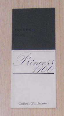 VANDEN PLAS PRINCESS 1100 Car Colour Chart Mid 1960s #2233A