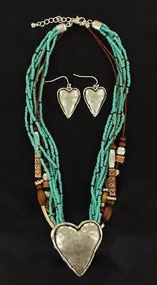 Blazin Roxx Western Womens Jewelry Necklace Earrings Heart Turq Brown -