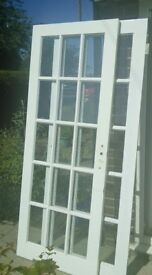 TWO INTERNAL GLAZED DOORS 755 x 197; 15 panes
