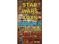 STAR WARS HE MAN GHOSTBUSTERS ETC TOYS WANTED CASH PAID ! 70s + 80s for personal collection